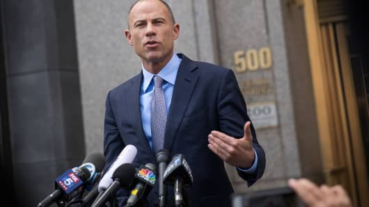 Michael Avenatti, attorney for Stormy Daniels, speaks to reporters following a court proceeding.