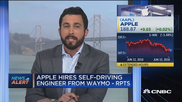 Apple hires self-driving car engineer from Alphabet's Waymo unit
