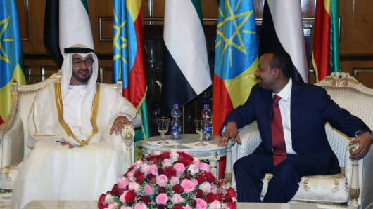 Crown Prince of Abu Dhabi Mohammed bin Zayed Al Nahyan (L) meets Ethiopian Prime Minister Abiy Ahmed (R) at National Palace in Addis Ababa, Ethiopia on June 15, 2018.
