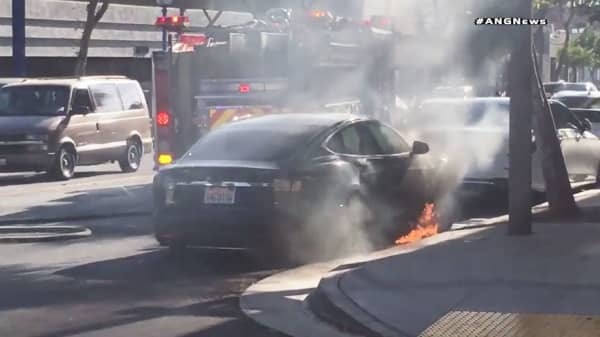 Actor Says Husband S Tesla Car Shot Flames In Traffic