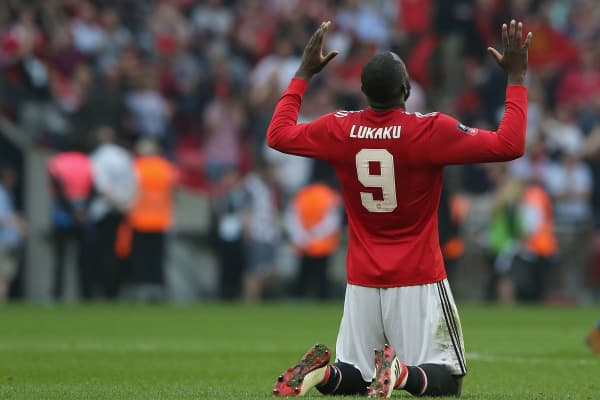 Romelu Lukaku of Manchester United celebrates after the Emirates FA Cup semi-final match between Manchester United and Tottenham Hotspur at Wembley Stadium on April 21, 2018 in London, England.