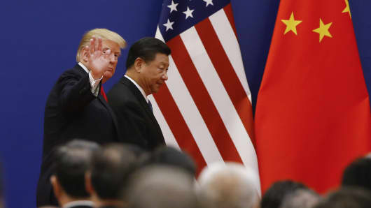 U.S. President Donald Trump and China's President Xi Jinping meet business leaders at the Great Hall of the People on November 9, 2017 in Beijing, China.