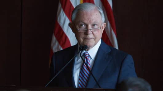 Attorney General Jeff Sessions delivers remarks on immigration and law enforcement actions to cadets from Lackwanna College Police Academy.