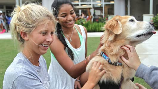 Two students with a golden retriever at the Nova Southeastern University campus in Davie, Fla.
