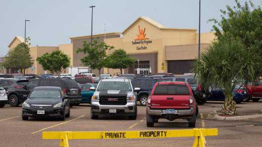 A former Walmart Supercenter now being used as a migrant children's shelter is pictured on June 18, 2018 in Brownsville, Texas.