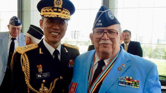"""Tim Whitmore, who served as a U.S. Air Force medic in Korea in 1954, alongside South Korean Major General Kyoung Soo Shin in May 2016 at the Virginia War Memorial in Richmond, VA. Of General Shin, Whitmore said, """"He is a great friend of the KWVA and a staunch patriot. I am honored to be his friend."""""""