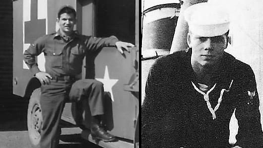 Left: Tim Whitmore, U.S. Air Force medic at K-2 Air Base, Taegue, South Korea, 1954. Right: U.S. Navy Third Class Petty Officer Jack Keep on watch at sea aboard the USS Gatling, off the coast of North Korea, 1953.