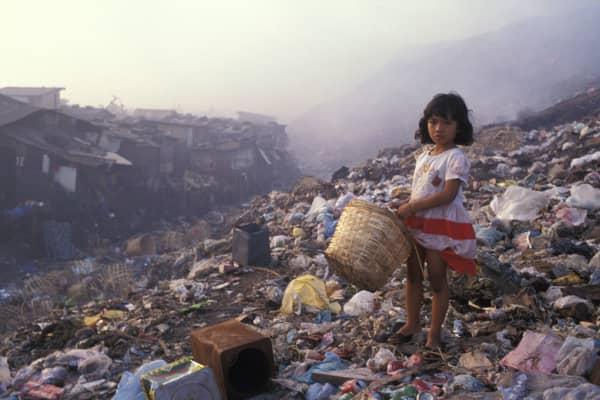A child seen atop Payatas dumpsite in Quezon City, the Philippines