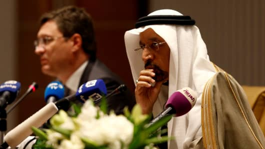 Saudi Energy Minister Khalid al-Falih and Russian Energy Minister Alexander Novak attend a news conference at the Ritz-Carlton hotel in Riyadh, Saudi Arabia February 14, 2018.