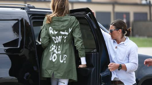 "First Lady Melania Trump departs Andrews Air Force Base in Maryland June 21, 2018 wearing a jacket emblazoned with the words ""I really don't care, do you?"""
