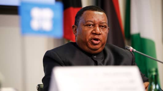Mohammed Barkindo, secretary general of the Organization of Petroleum Exporting Countries (OPEC), speaks during a news conference following the 174th Organization Of Petroleum Exporting Countries (OPEC) meeting in Vienna, Austria, on Friday, June 22, 2018.