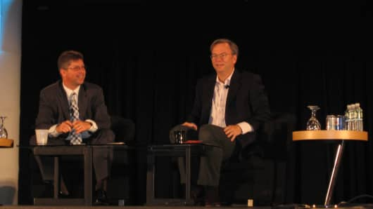Sullivan on stage with former Google CEO Eric Schmidt at a Search Engine Strategies event in 2006.