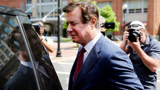 President Trump's former campaign manager Paul Manafort departs U.S. District Court after a motions hearing in Alexandria, Virginia, May 4, 2018.