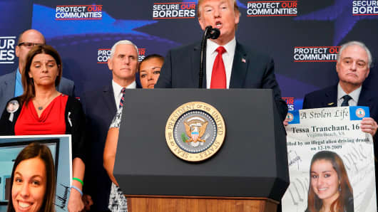 President Donald Trump greets people holding posters of victims allegedly killed by illegal immigrants, before speaking on immigration in the South Court Auditorium, next to the White House on June 22, 2018 in Washington, DC.