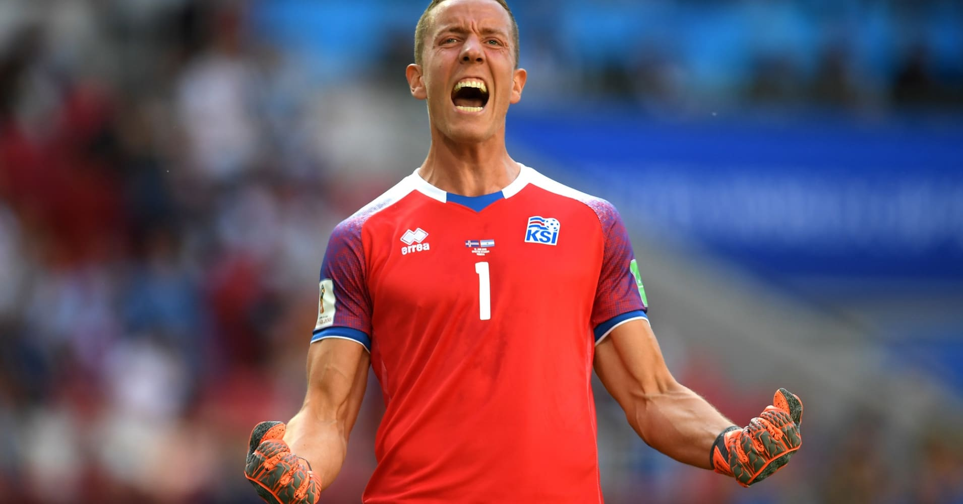 Hannes Halldorsson of Iceland celebrates after team mate Alfred Finnbogason scored his team's first goal during the 2018 FIFA World Cup Russia group D match between Argentina and Iceland at Spartak Stadium on June 16, 2018 in Moscow, Russia.