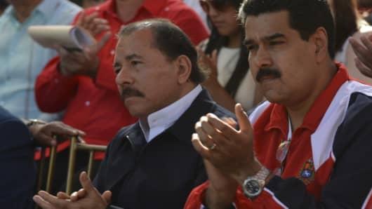 Nicolas Maduro, Vice President of Venezuela and Daniel Ortega -President of Nicaragua- on January 10, 2013 in Caracas, Venzuela.