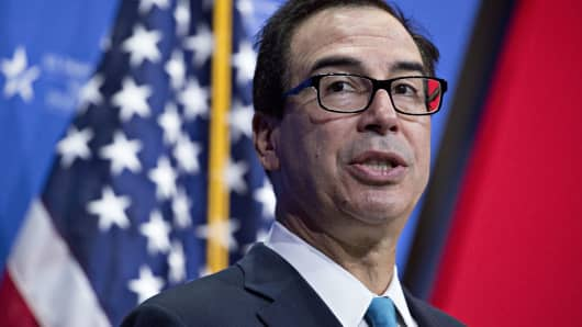 Steven Mnuchin, U.S. Treasury secretary, speaks during the SelectUSA Investment Summit in National Harbor, Maryland, U.S., on Thursday, June 21, 2018.