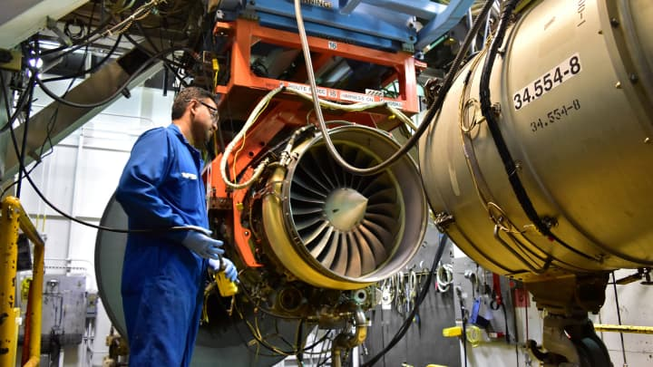 An aircraft engine is being tested at Honeywell Aerospace in Phoenix.