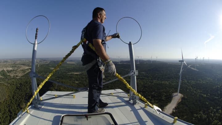 A technician stands at the top of an 89-m wind turbine at Buffalo Gap Wind Power project in Taylor and Nolan counties, just south of Abilene.