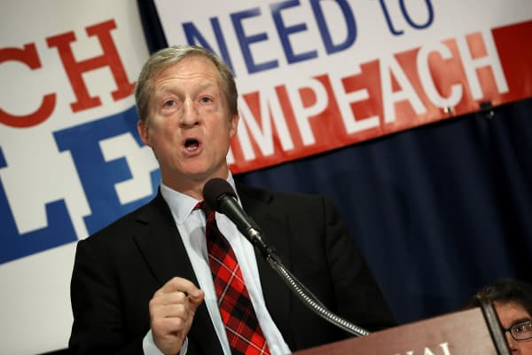 Billionaire hedge fund manager and philanthropist Tom Steyer speaks during a press conference at the National Press Club December 6, 2017 in Washington, DC. Steyer, founder of the 'Need To Impeach' initiative, presented legal grounds calling for the impeachment investigation of U.S. President Donald Trump during the press conference.
