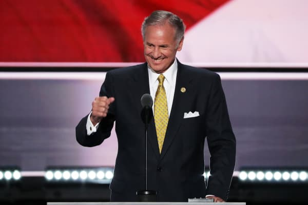 CLEVELAND, OH - JULY 19:  Lt. Gov. of South Carolina, Henry McMaster delivers a speech during the start of the second day of the Republican National Convention on July 19, 2016 at the Quicken Loans Arena in Cleveland, Ohio. An estimated 50,000 people are expected in Cleveland, including hundreds of protesters and members of the media. The four-day Republican National Convention kicked off on July 18.  (Photo by Alex Wong/Getty Images)