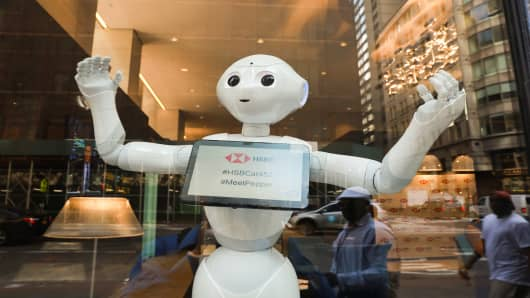 HSBC Bank welcomes SoftBank Robotics' humanoid robot, Pepper, to their team at the Fifth Ave branch on Monday, June 25, 2018 in New York.