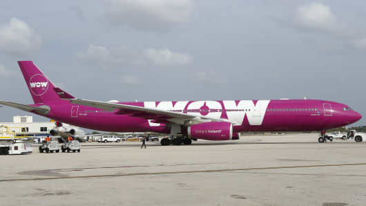 A view of WOW air airplane during the inaugural flight for Icelandic at Miami International Airport on Thursday, April 6, 2017.