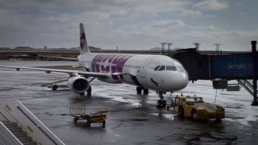 Airbus A321 of the Icelandic low-cost carrier WOW air at Keflavik International Airport.