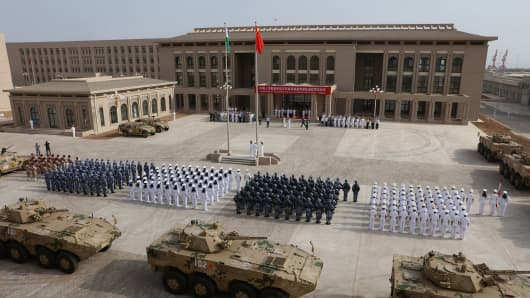 Chinese People's Liberation Army personnel attending the opening ceremony of China's military base in Djibouti.