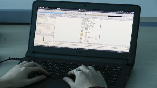 A view shows a laptop display showing part of a code, which is the component of Petya malware computer virus according to representatives of Ukrainian cyber security firm ISSP, at the firm's office in Kiev, Ukraine July 4, 2017.