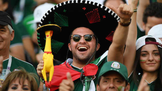 A Mexican fan enjoys the pre match atmosphere prior to the 2018 FIFA World Cup Russia group F match between Mexico and Sweden at Ekaterinburg Arena on June 27, 2018 in Yekaterinburg, Russia.