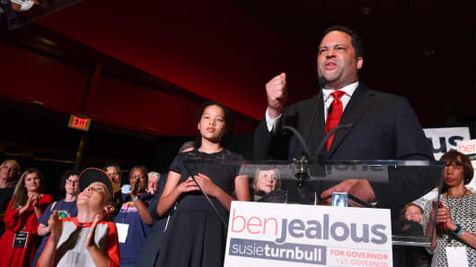 Ben Jealous wins the Democratic primary for Maryland Governor and addresses the crowd gathered at the Reginald F. Lewis Museum of Maryland African-American History & Culture June 26, 2018 in Baltimore, MD.