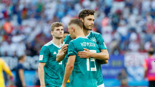 Joshua Kimmich and Jonas Hector of Germany look dejected after the 2018 FIFA World Cup Russia match between Korea and Germany at Kazan Arena on June 27, 2018 in Kazan, Russia.