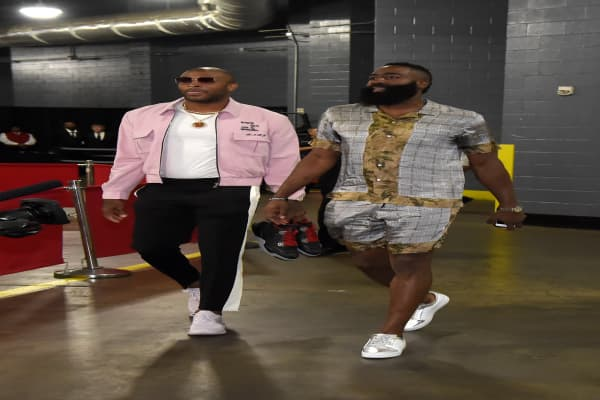 2d9772af22a PJ Tucker and James Harden of the Houston Rockets arrive before Game One of  the Western