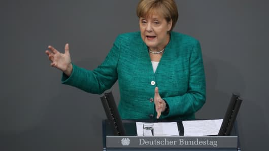 German Chancellor Angela Merkel gives a government declaration at the Bundestag ahead of the upcoming E.U. and NATO summits on June 28, 2018 in Berlin, Germany.