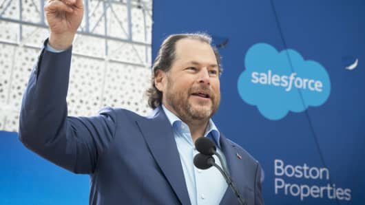 Salesforce co-CEO Marc Benioff speaks at the grand opening of the Salesforce Tower in San Francisco in May 2018.
