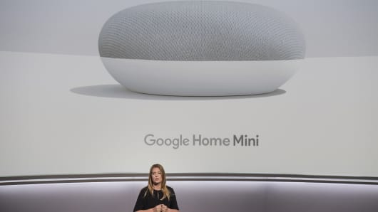 Isabelle Olsson, senior industrial designer for Google Inc., speaks about the Google Home Mini voice speaker during a product launch event in San Francisco, California, U.S., on Wednesday, Oct. 4, 2017.