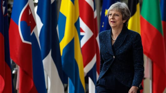 British Prime Minister Theresa May arrives at the Council of the European Union on the first day of the European Council leaders' summit on June 28, 2018 in Brussels, Belgium.