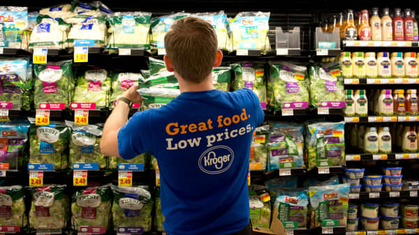 Kroger shares surge on earnings beat