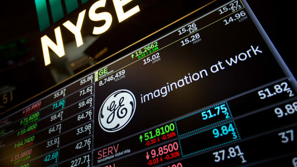 A monitor displays General Electric (GE) signage on the floor of the New York Stock Exchange.