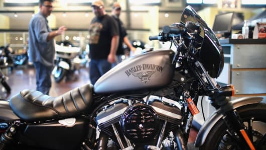 Harley-Davidson motorcycles are offered for sale at a Harley-Davidson dealership.