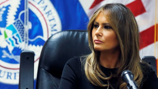 Melania Trump listens to federal immigration and law enforcement officials during a roundtable discussion as she visits a U.S. Customs and Border Patrol facility in Tucson, Arizona, June 28, 2018.