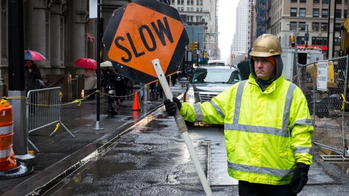 A road construction site near Wall Street in Manhattan.