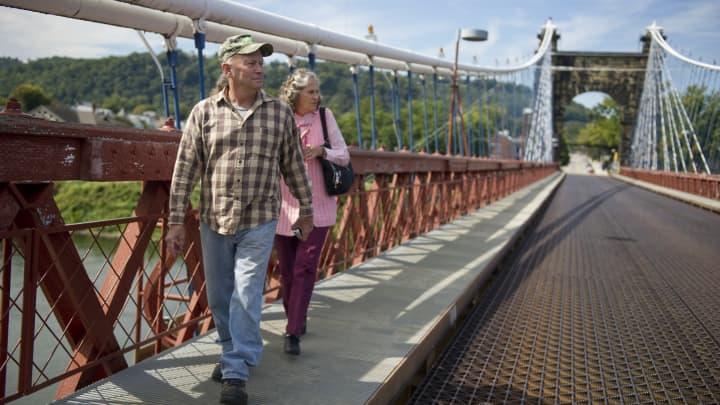 The Wheeling Suspension Bridge in Wheeling, West Virginia