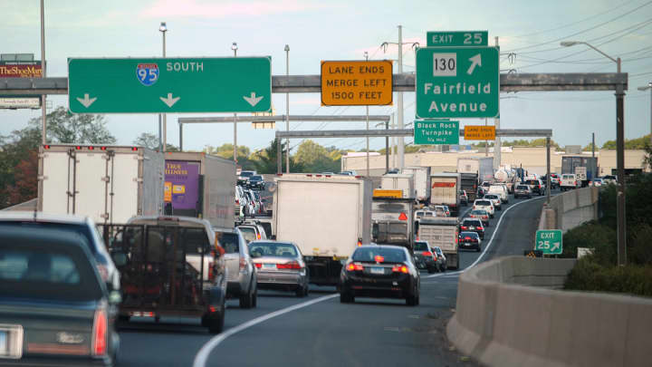 Heavy traffic on I-95 southbound in Bridgeport, Connecticut, is a daily occurrence.