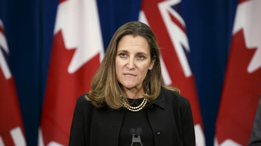 Chrystia Freeland, Canada's minister of foreign affairs, speaks during a briefing on North American Free Trade Agreement (NAFTA) negotiations in Toronto, Ontario, Canada, on Thursday, June 14, 2018. After a particularly tense week for Canada-U.S. relations, Chrystia Freeland said North American Free Trade Agreement negotiations will continue. Photographer: