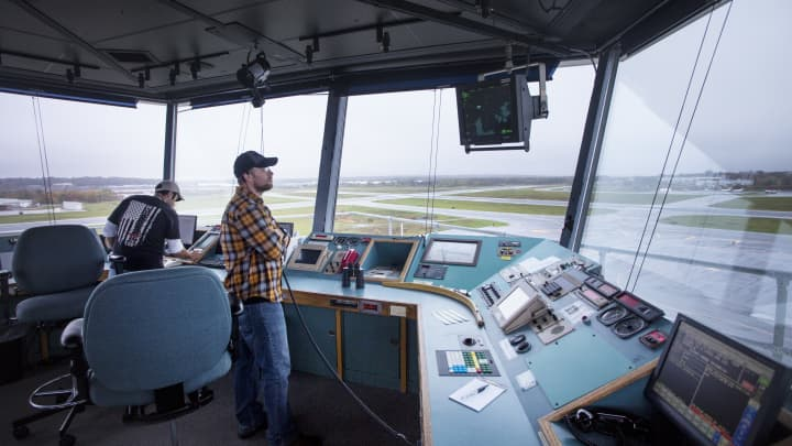 The control tower at Portland International Jetport in Cumberland County