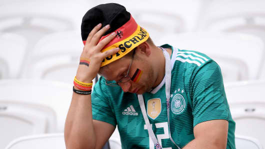A German fan looks dejected during the 2018 FIFA World Cup Russia match between Korea Republic and Germany June 27, 2018 in Kazan, Russia.