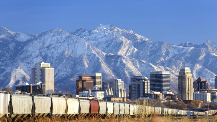 A freight train outside Salt Lake City