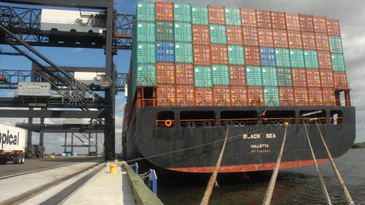 Cargo containers are stacked on the Black Sea ship at Tampa Port Authority's Hookers Point in Tampa.